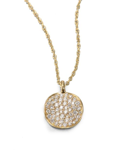 Ippolita | Metallic Stardust Diamond & 18k Yellow Gold Disc Pendant Necklace | Lyst