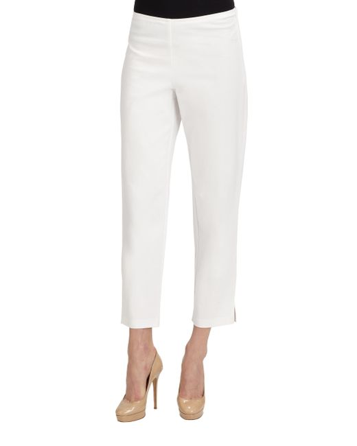 Eileen Fisher | White Stretch Organic Cotton Ankle Pants | Lyst