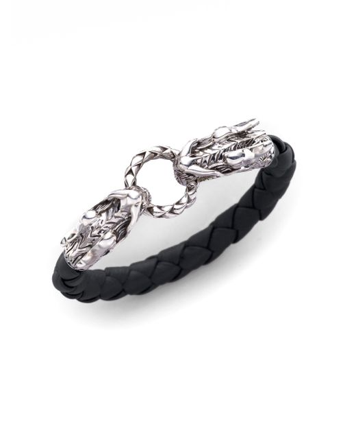 John Hardy | Metallic Naga Sterling Silver & Leather Dragon Woven Bracelet/black | Lyst