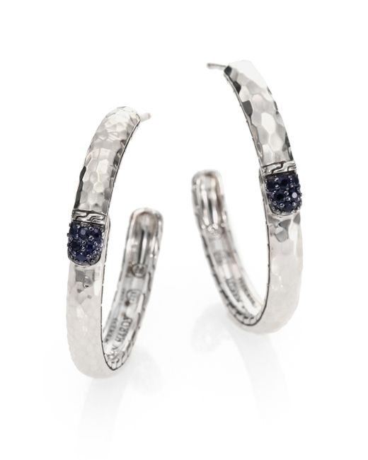 John Hardy | Metallic Palu Black Sapphire & Sterling Silver Medium Hoop Earrings/2 | Lyst