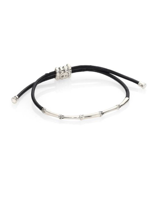 John Hardy   Black Bamboo Sterling Silver & Cord Slide Bracelet   Lyst