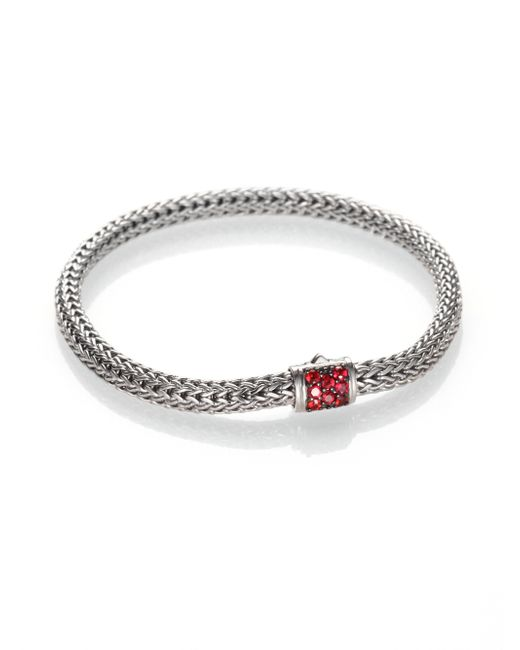 John Hardy | Classic Chain Red Sapphire & Sterling Silver Extra-small Bracelet | Lyst