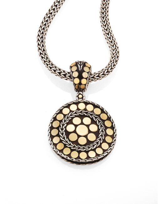 John Hardy | Metallic Dot 18k Yellow Gold & Steling Silver Small Round Pendant | Lyst