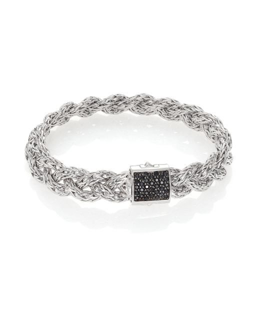 John Hardy | White Classic Chain Black Sapphire & Sterling Silver Large Bracelet | Lyst