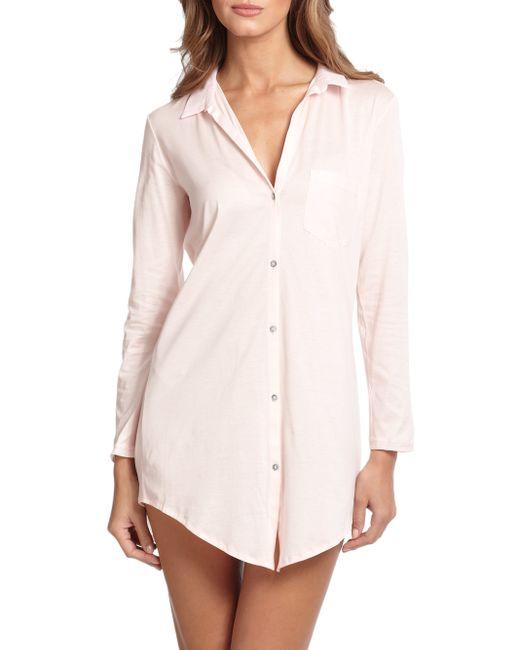 Hanro | Pink Cotton Deluxe Boyfriend Sleepshirt | Lyst