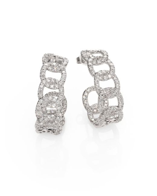 Roberto Coin | Metallic Diamond & 18k White Gold Link J-hoop Earrings | Lyst