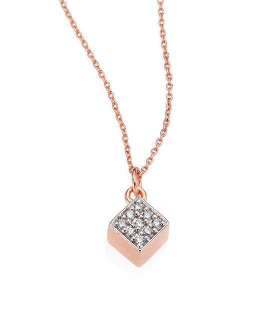 Ginette NY - Metallic Ever Mini Diamond & 18k Rose Gold Square Pendant Necklace - Lyst
