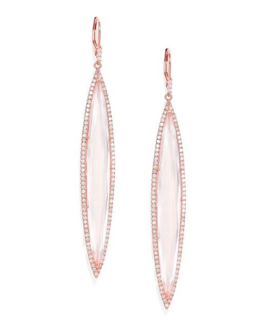 Meira T | Pink Diamond, Rose Quartz & 14k Rose Gold Drop Earrings | Lyst