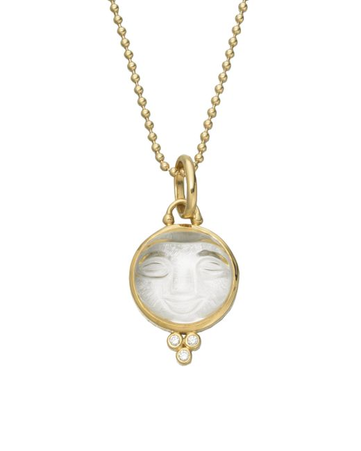 Temple St. Clair | Metallic Celestial Rock Crystal, Diamond & 18k Yellow Gold Medium Moonface Pendant | Lyst