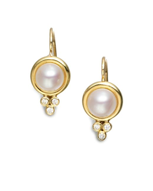 Temple St. Clair | Metallic Classic 7mm White Mabe Pearl, Diamond & 18k Yellow Gold Drop Earrings | Lyst