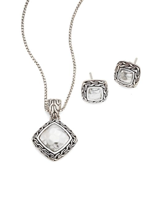 John Hardy | Metallic Classic Chain Hammered Sterling Silver Pendant Necklace & Stud Earring Heritage Gift Set | Lyst