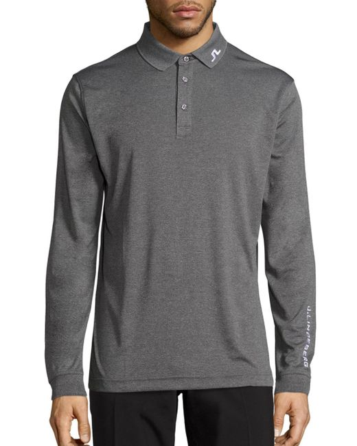 J.Lindeberg | Gray Heathered Long Sleeve Golf Polo Shirt for Men | Lyst