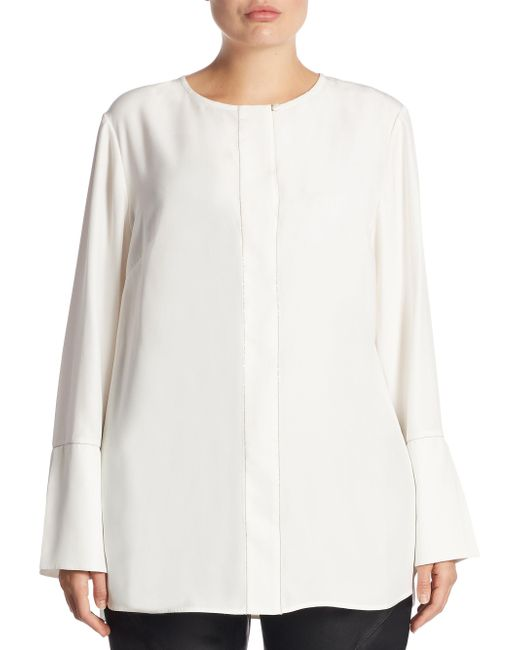 Lafayette 148 New York | White Georgie Long-sleeve Silk Blouse | Lyst
