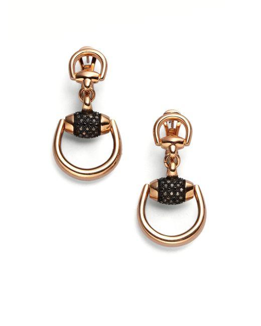 Gucci - Metallic Horsebit Black Diamond & 18k Rose Gold Drop Earrings - Lyst