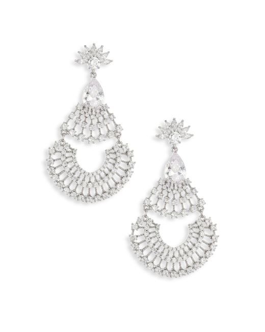 Fallon | Metallic Monarch Fan Crystal Chandelier Earrings | Lyst