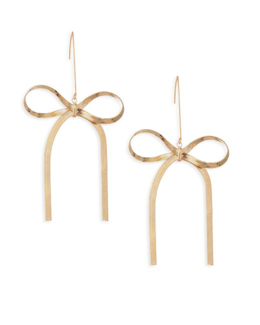 Kenneth Jay Lane - Metallic Bow Drop Earrings - Lyst