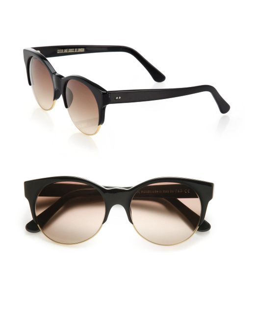 Cutler & Gross - Black Half-rim 52mm Cat Eye Sunglasses - Lyst