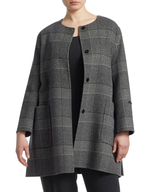 Marina Rinaldi - Gray Notte Wool Plaid Coat - Lyst