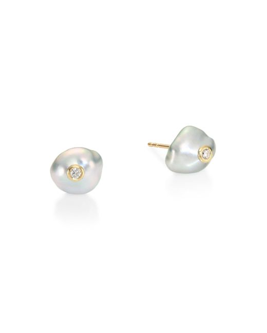 Mizuki - Metallic 10mm Keshi Pearl & Diamond Stud Earrings - Lyst