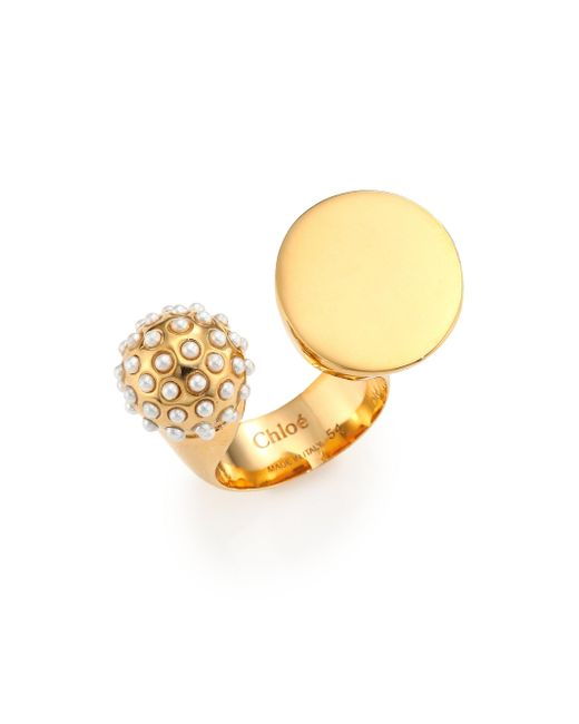 Chloé | Metallic Darcey Faux Pearl Sphere Open Ring | Lyst