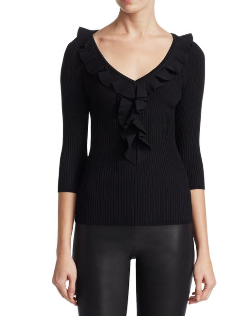 Saks Fifth Avenue | Black Collection Ruffled Trim V-neck Sweater | Lyst