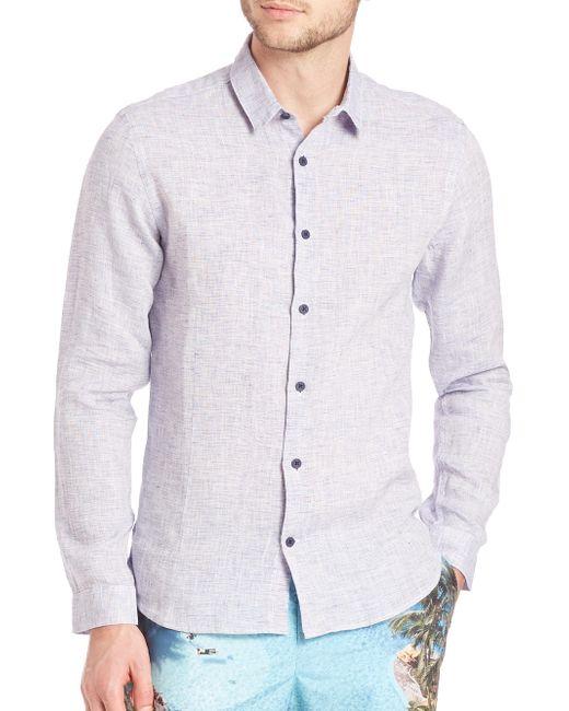 Orlebar Brown - Blue Linen Casual Button-down Shirt for Men - Lyst