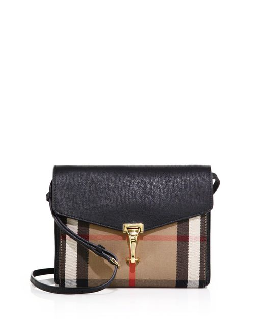 Burberry | Black Macken Small House Check & Leather Crossbody Bag | Lyst