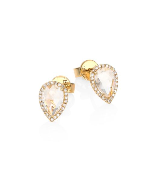 EF Collection | Metallic Teardrop Diamond & White Topaz Stud Earrings | Lyst