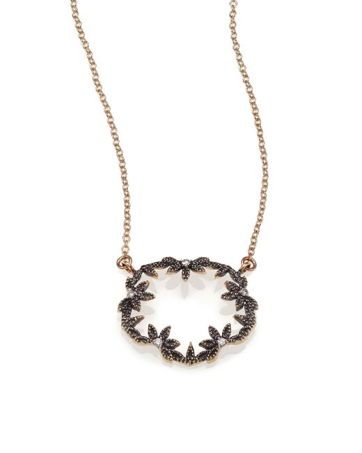 Mizuki | Diamond & 14k Blackened Gold Small Open Petal Necklace | Lyst