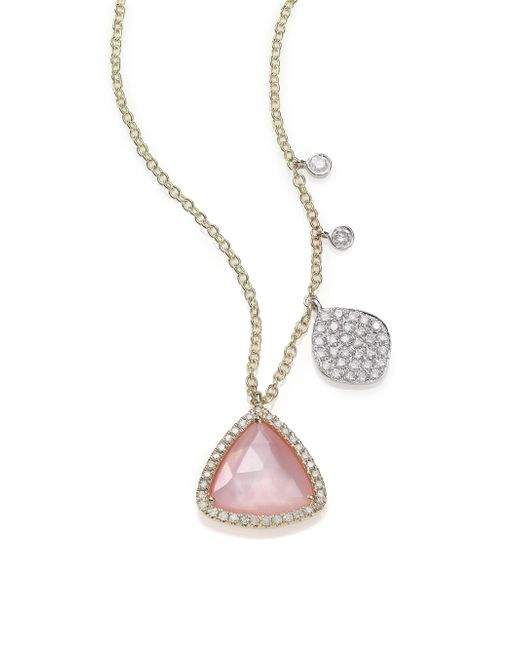 Meira T - Pink Rose Quartz, Mother-of-pearl, Diamond & 14k Yellow Gold Pendant Necklace - Lyst