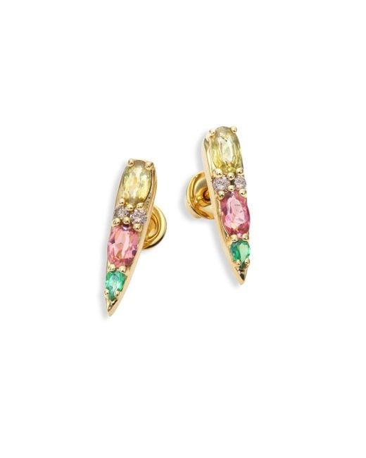 Nikos Koulis - Metallic Spectrum Tapered Brown Diamond, Tsavorite, Pink Tourmaline & Yellow Beryls Stud Earrings - Lyst