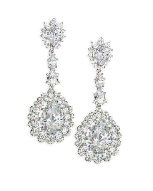 Adriana Orsini - Metallic Scalloped Crystal Teardrop Earrings - Lyst