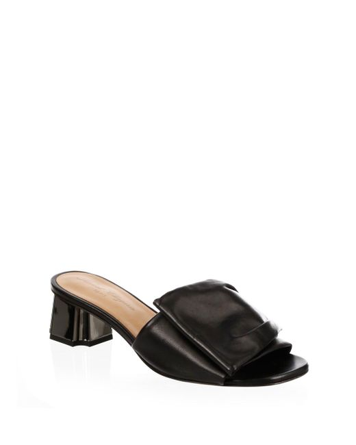 Robert Clergerie | Black Ruched Leather Slides | Lyst