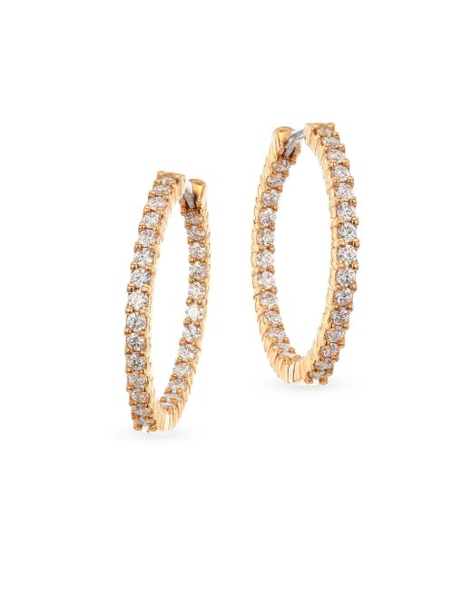 Roberto Coin | Metallic 18k Yellow Gold 1.53 Tcw Diamond Hoops | Lyst