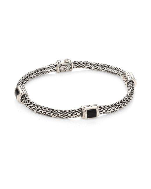 John Hardy - Classic Chain Extra Small Silver & Black Onyx Four Station Bracelet - Lyst
