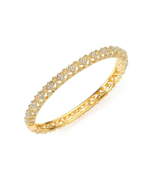 Adriana Orsini | Metallic Pave Crystal Flower Bangle Bracelet | Lyst