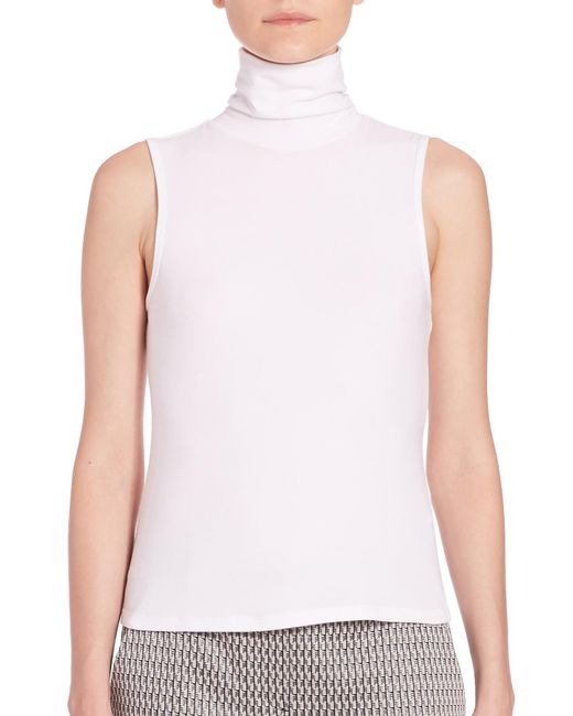 Theory - White Wendel Turtleneck Jersey Tank - Lyst