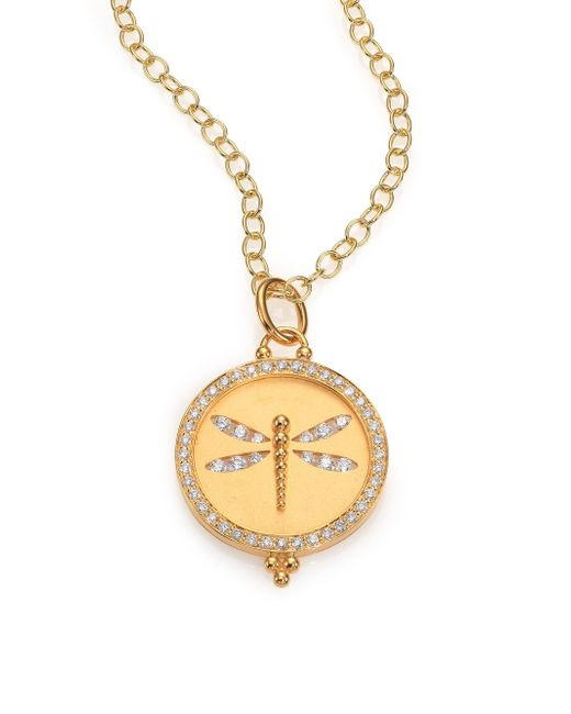 Temple St. Clair - Metallic Tree Of Life Diamond & 18k Yellow Gold Dragonfly Cutout Disc Pendant - Lyst