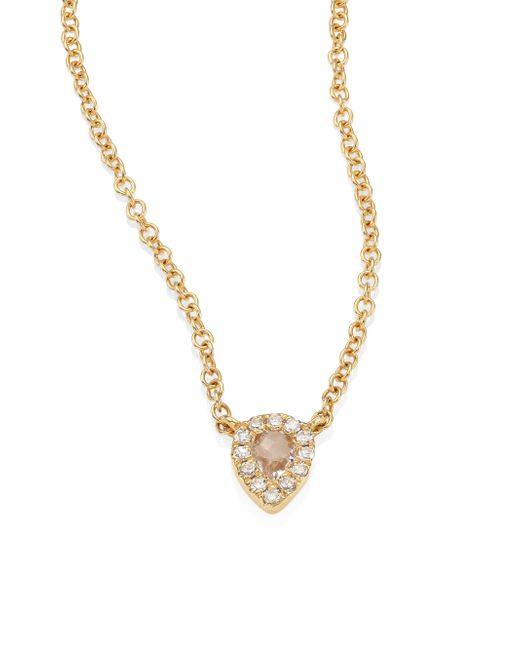EF Collection - Metallic Mini Teardrop Diamond, White Topaz & 14k Yellow Gold Choker - Lyst