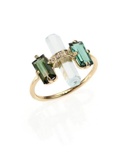 Jacquie Aiche - Metallic Green Tourmaline, Aquamarine, Diamond & 14k Yellow Gold Bar Ring - Lyst