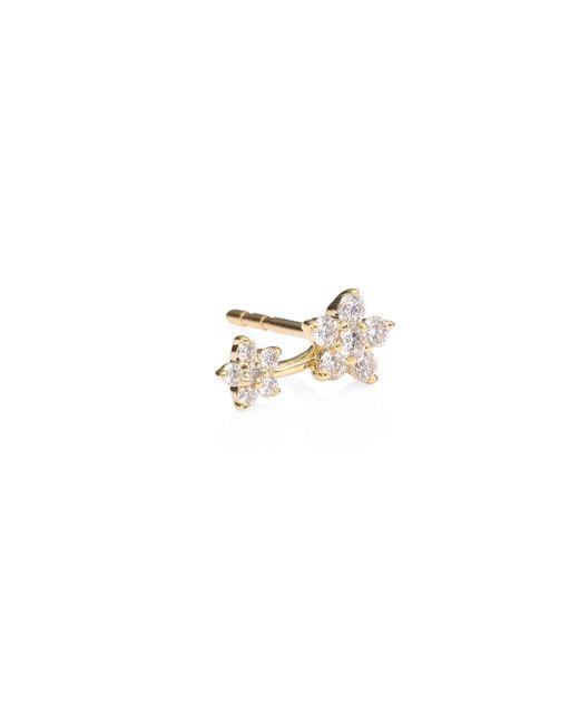 82a980c57 EF Collection - Metallic Women's Single Diamond & 14k Yellow Gold Double  Flower Single Stud Earring ...