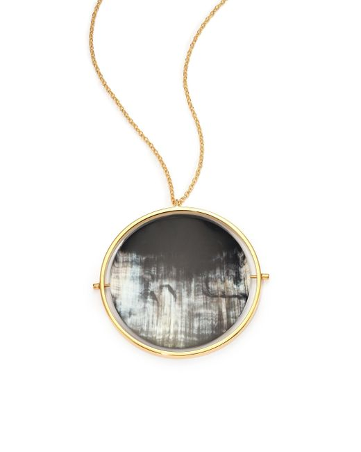 Nest - Gray Horn Disc Statement Pendant Necklace - Lyst