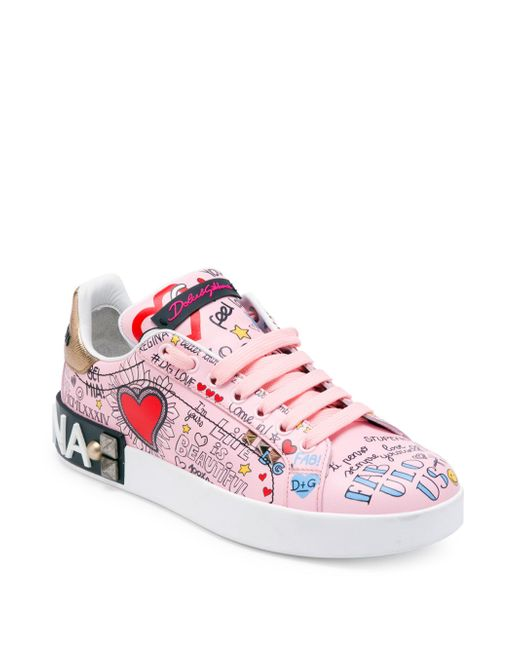 2018 Cheap Online In China Sale Online Portofino mural print sneakers - Pink & Purple Dolce & Gabbana Cheap Sale Cheapest Sale 2018 Clearance Hot Sale WD6VC7V