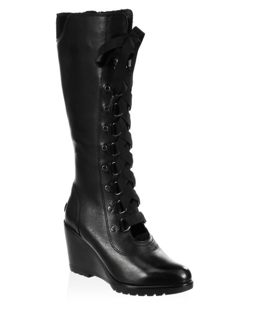Lyst Sorel After Hour Lace Up Tall Boots In Black