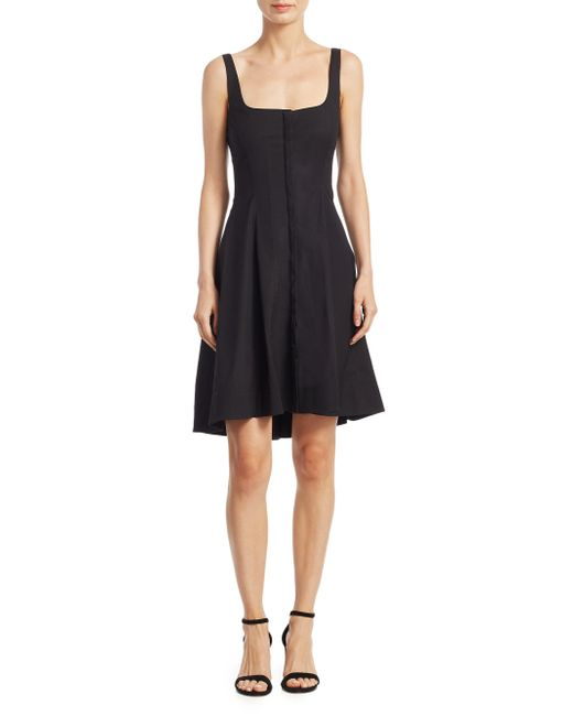 Theory | Black Modern Squareneck Fit-&-flare Dress | Lyst