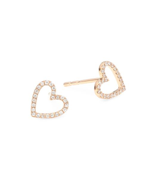 EF Collection - Metallic 14k Rose Gold & Diamond Heart Stud Earrings - Lyst