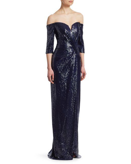 Rene Ruiz - Blue Sequined Column Gown - Lyst