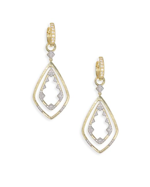 Jude Frances - Metallic Lisse Diamond Double Drop Kite Earrings - Lyst