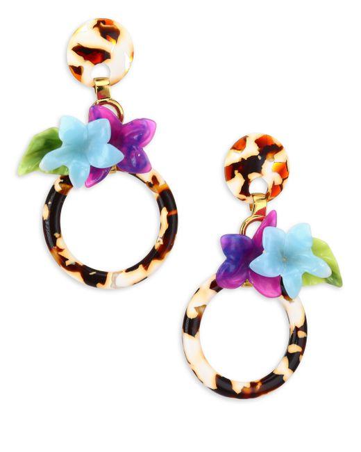 Lele Sadoughi - Multicolor Hibiscus Hoop Earrings - Lyst