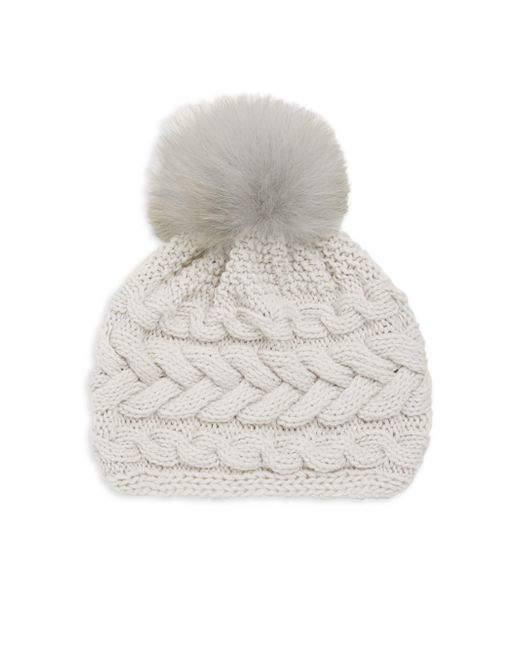 Inverni - Gray Beatrice Fox Fur Pom Pom Cable Knit Beanie - Lyst